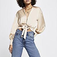 Cream Tie Front Satin Shirt