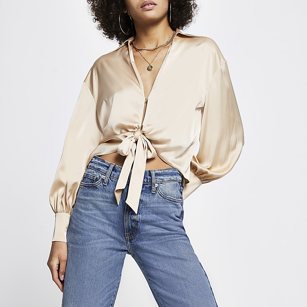Cream Tie Front Satin Shirt