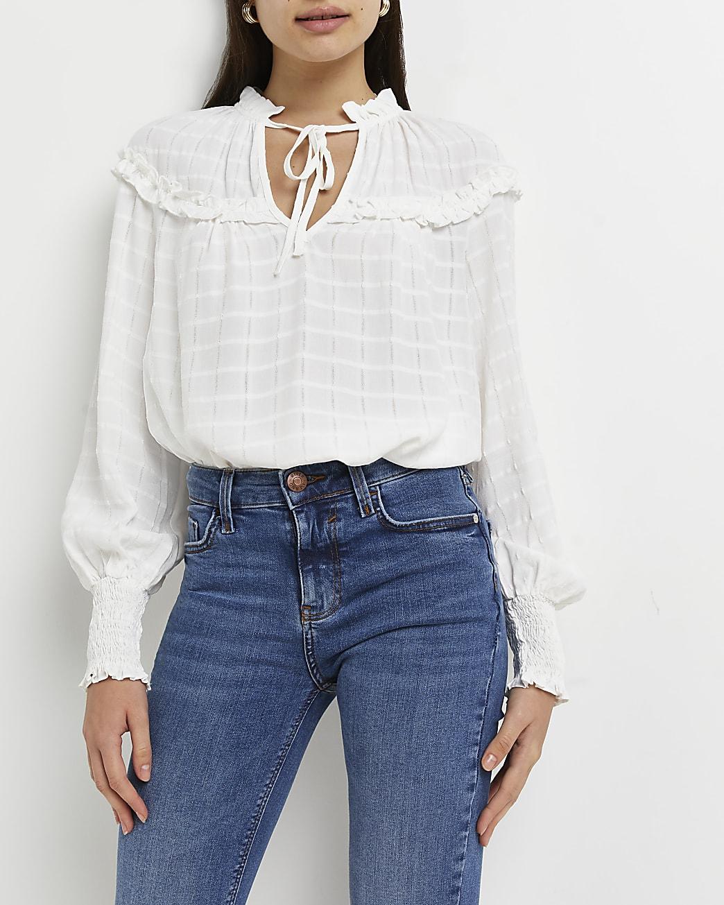 Cream tie neck blouse