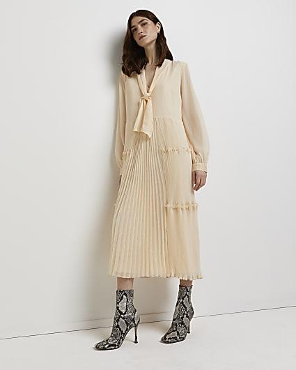 Cream tie neck pleated midi dress