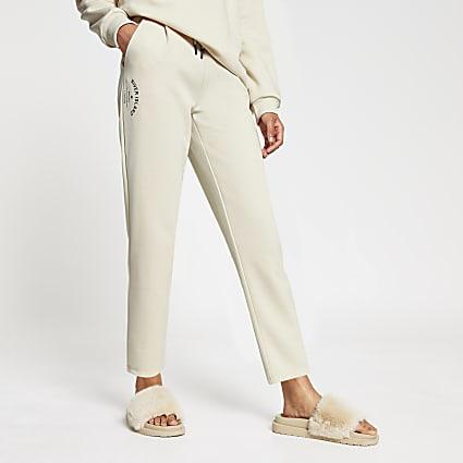 Cream tie waist jogger