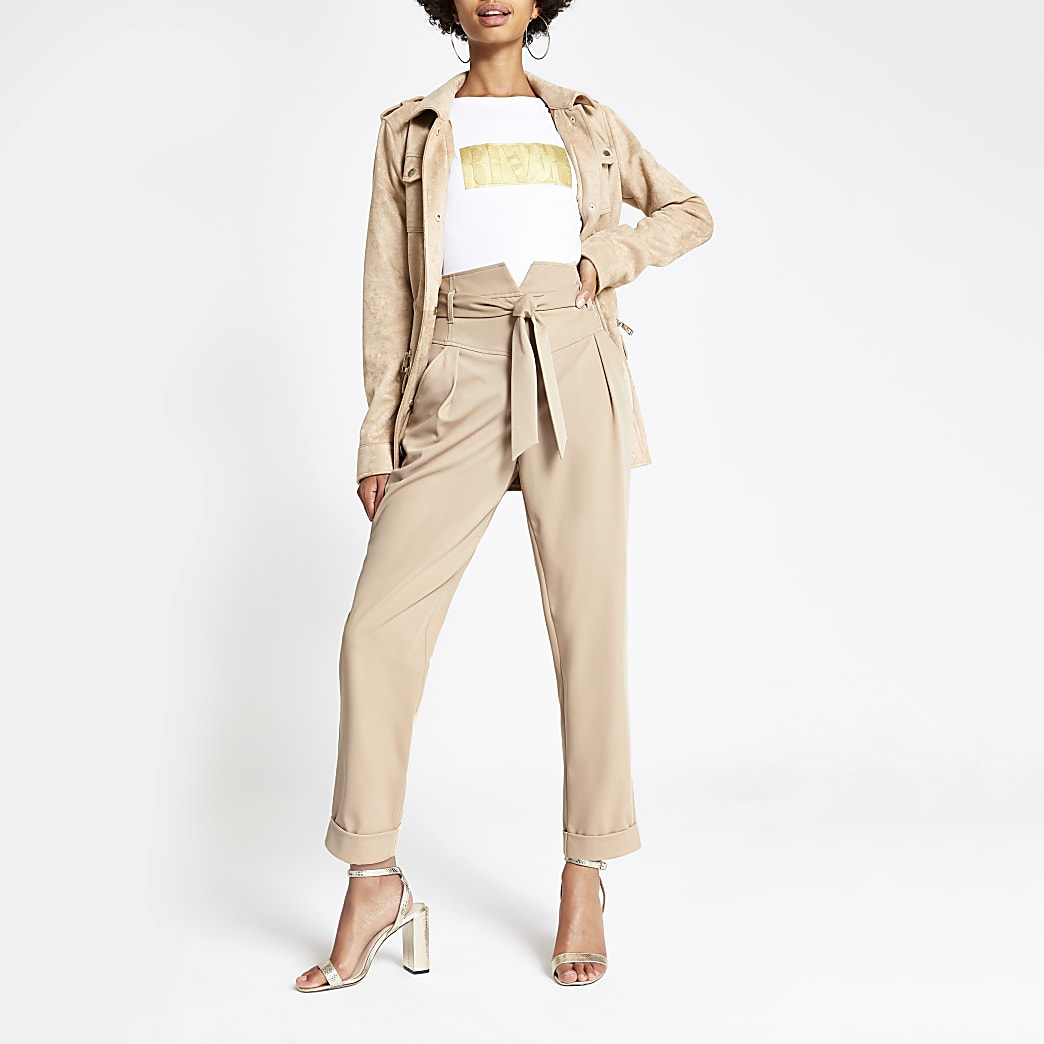 Cream tie waist peg trousers