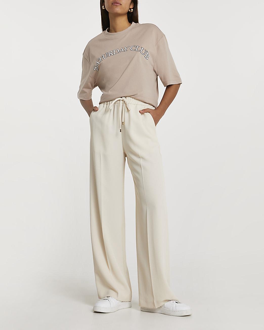 Cream tie waist wide leg joggers