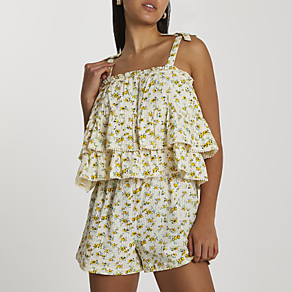Cream tiered floral printed playsuit