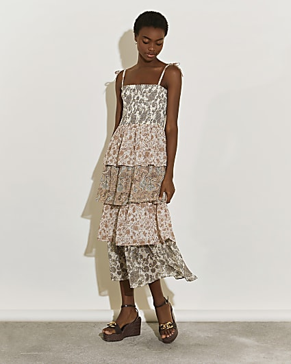 Cream tiered midi dress