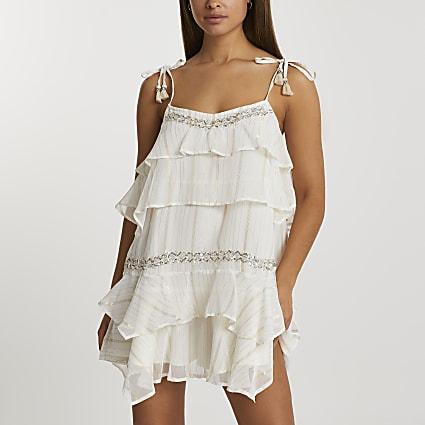Cream tiered mini beach dress
