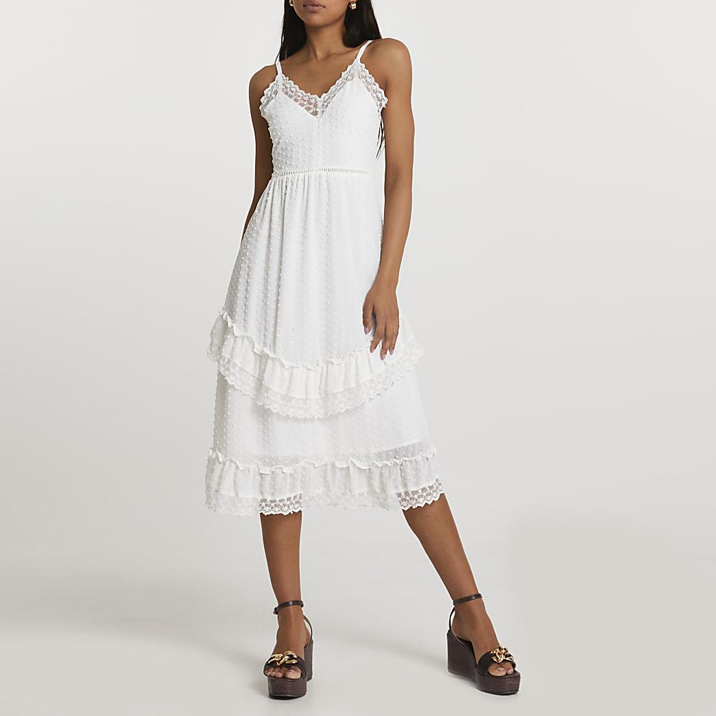 Cream tiered slip dress