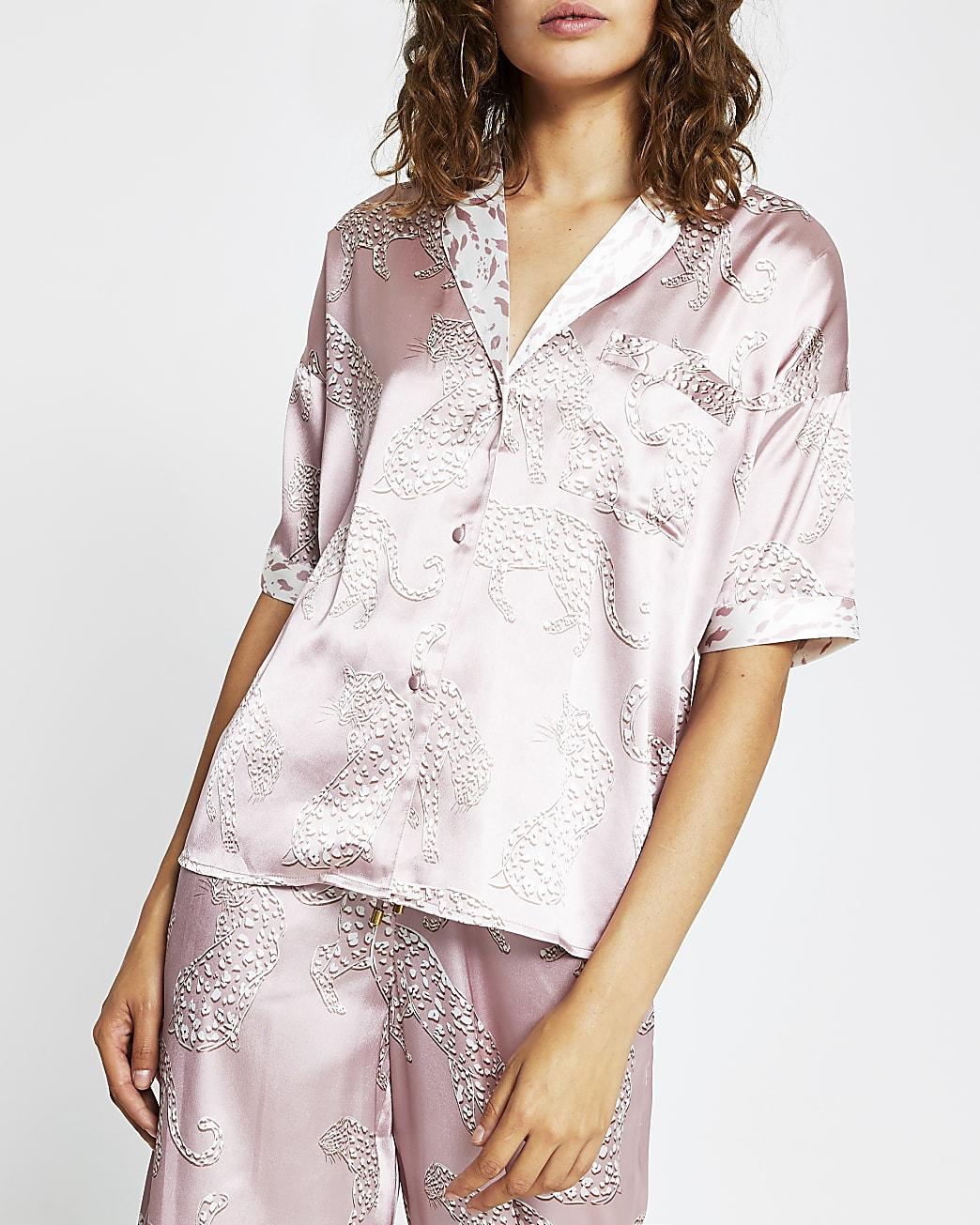 Cream tiger print pyjama shirt