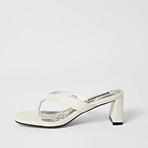 Cream toe thong block heel sandals