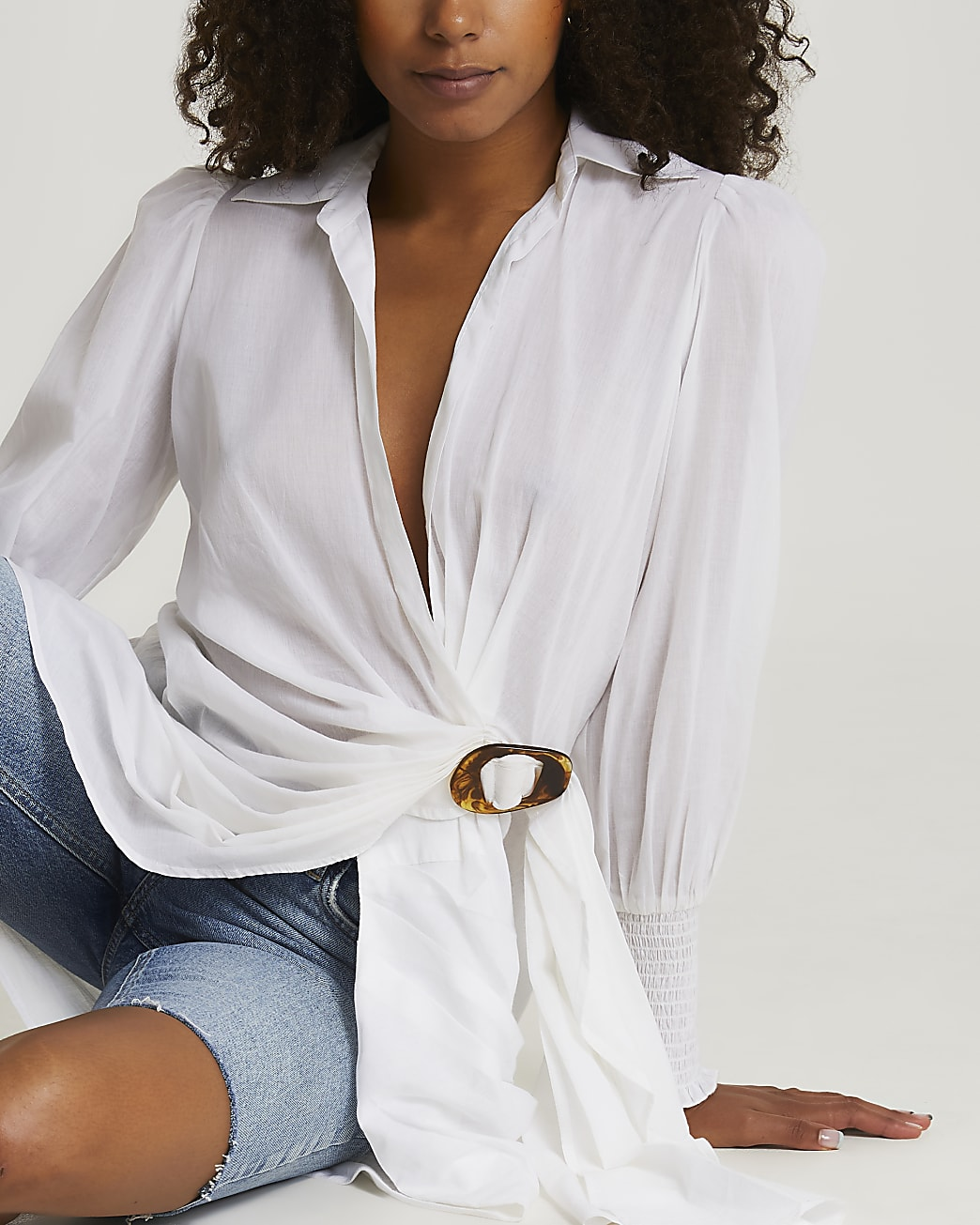 Cream tort buckle mini shirt cover up dress
