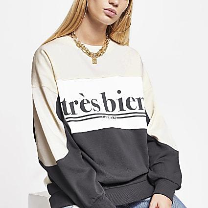 Cream 'Tres Bien' colour block sweatshirt