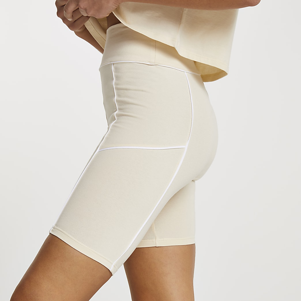 Cream trim high waisted cycling shorts