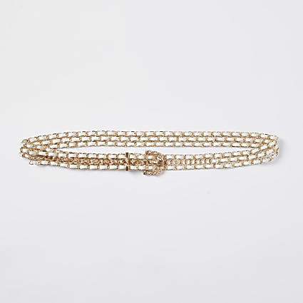 Cream triple chain weave belt