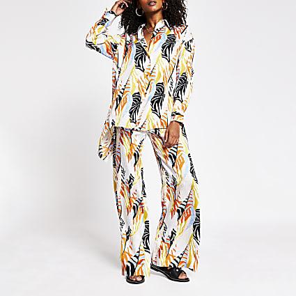 Cream tropical print overisized shirt
