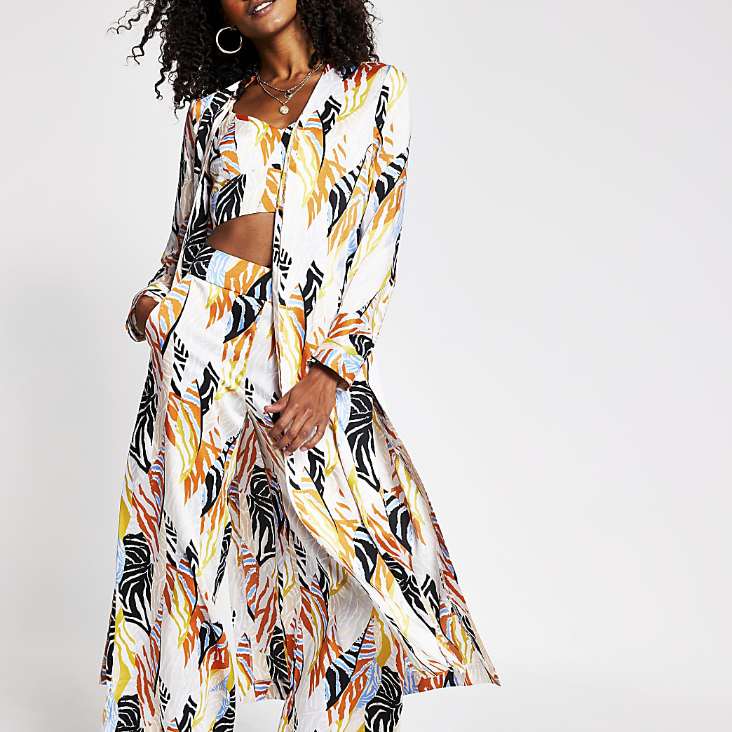 Cream tropical print tie waist duster jacket