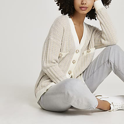 Cream tweed knit cardigan