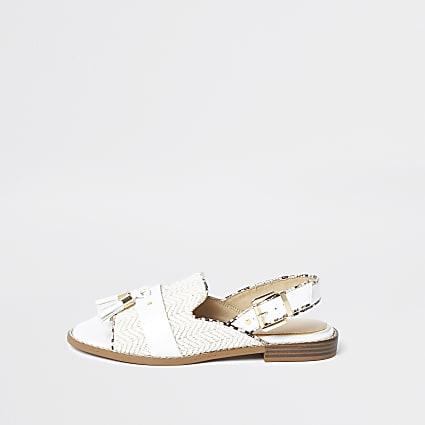 Cream weave peep toe sandals