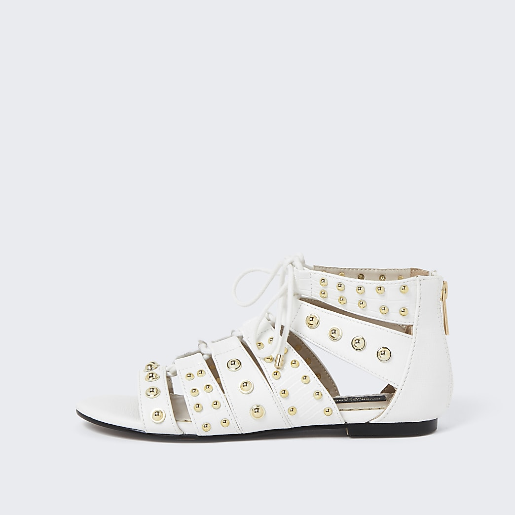 Cream wide fit stud tie up gladiator sandal