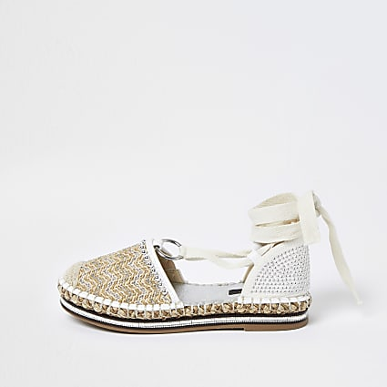 Cream wide fit tie ankle espadrille