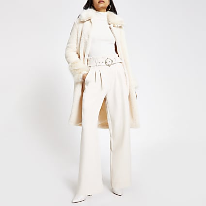 Cream wide leg  belted trousers