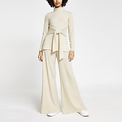 Cream wide leg ribbed trousers