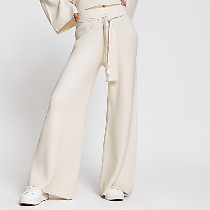 Cream wide leg smart lounge trousers