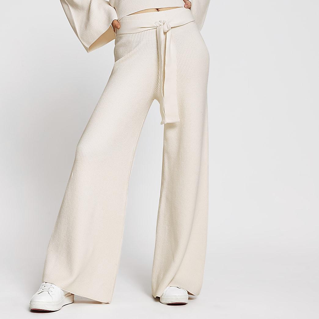 Cream wide leg smart lounge trousers