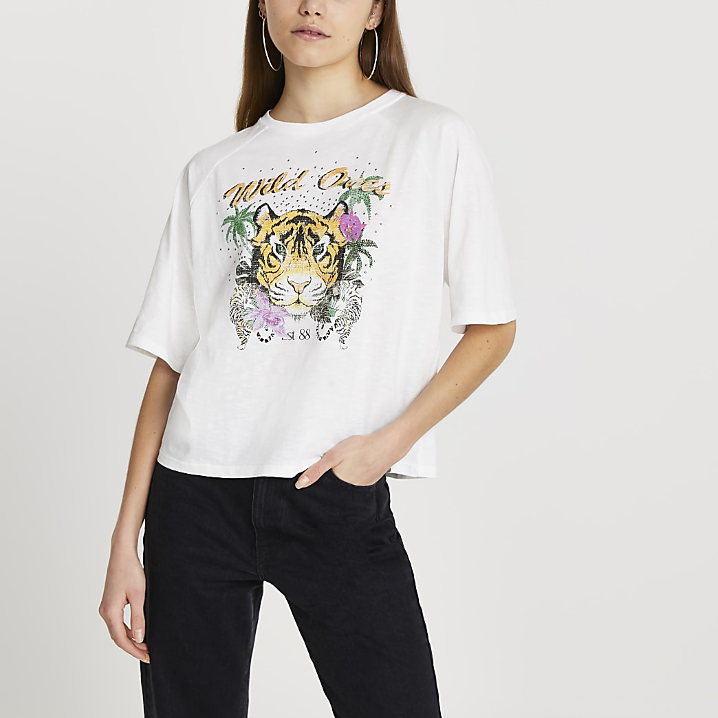Cream 'Wild Ones' tiger boxy t-shirt