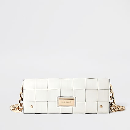 Cream woven baguette clutch bag