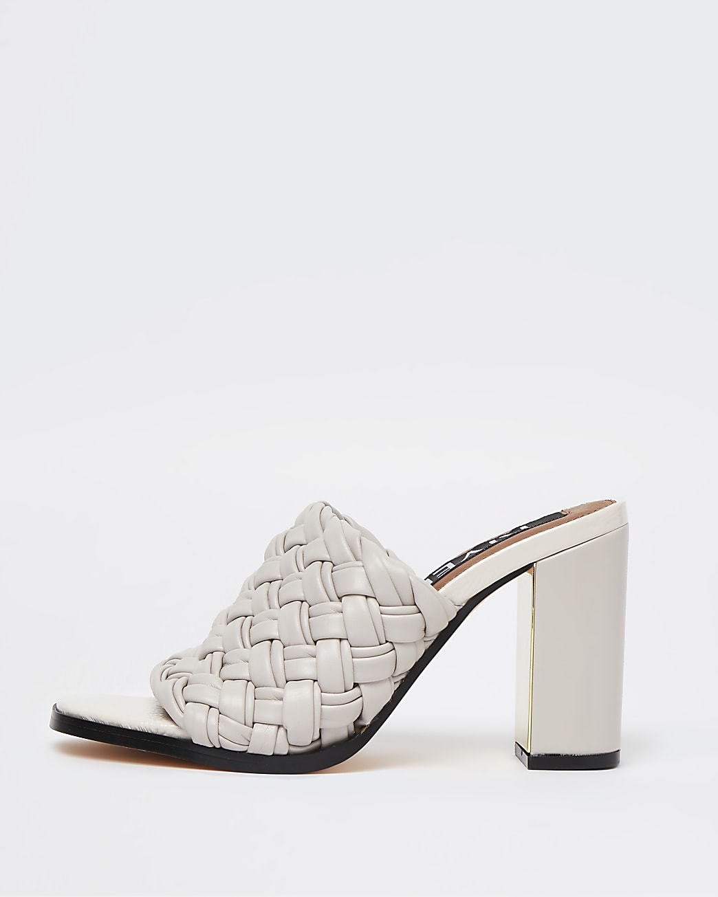 Cream woven block heeled mules