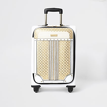 Cream woven monogram print suitcase