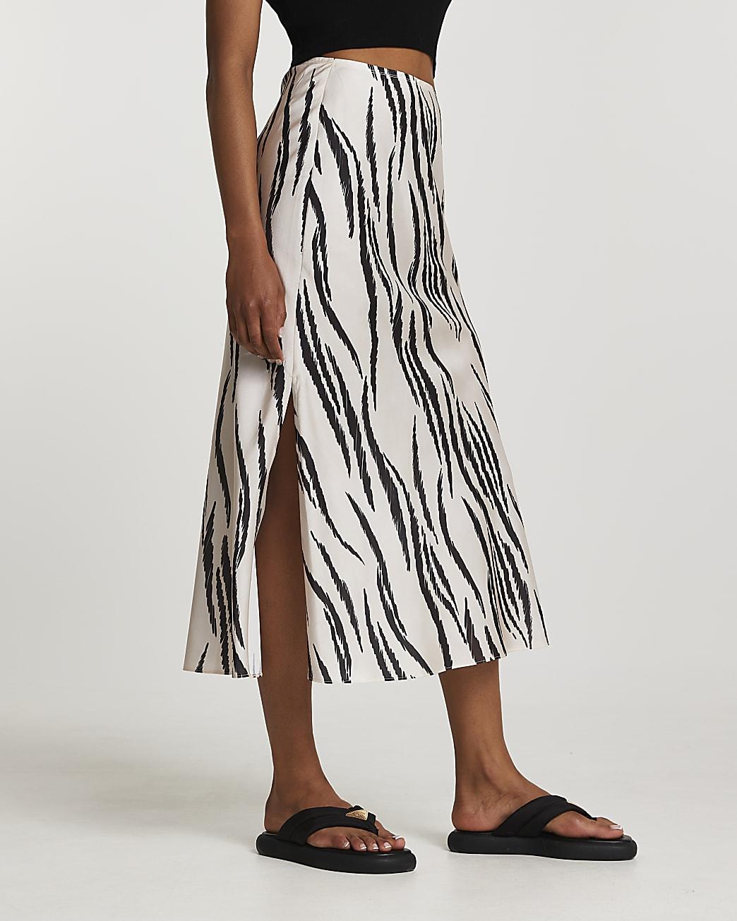 Cream zebra bias midi skirt