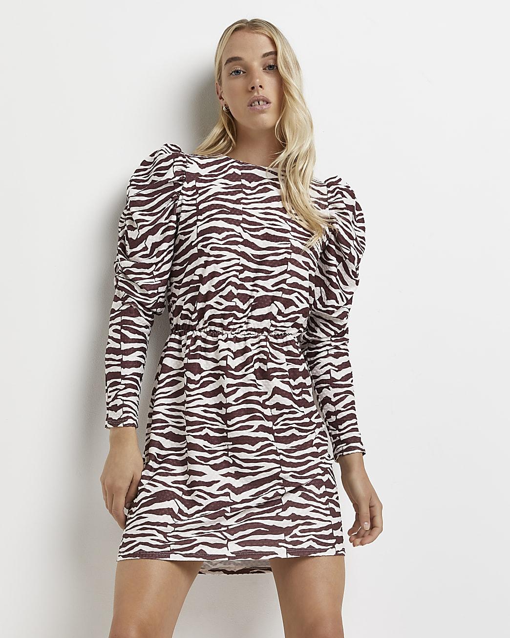 Cream zebra print mini dress