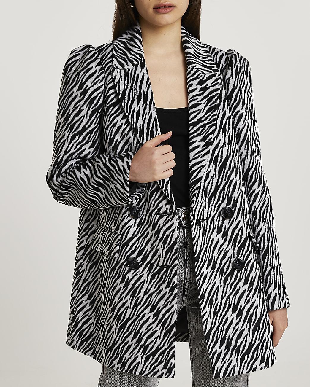 Cream zebra puff sleeve blazer