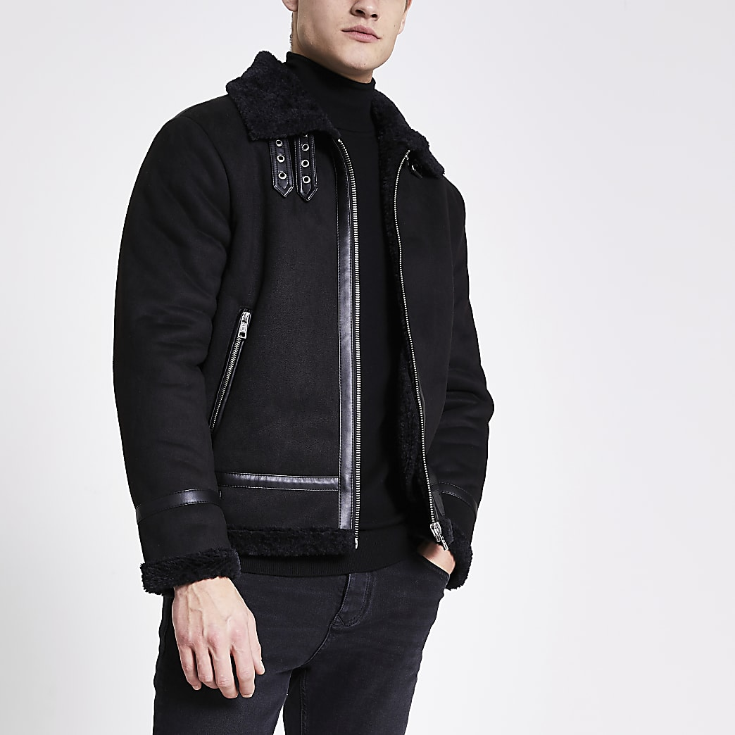 Criminal Damage black aviator jacket