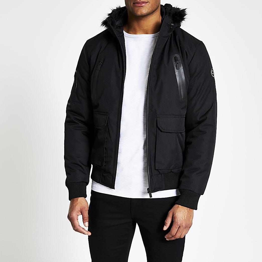 Criminal Damage black faux fur trim jacket