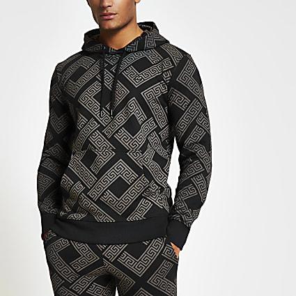Criminal Damage black printed slim fit hoodie