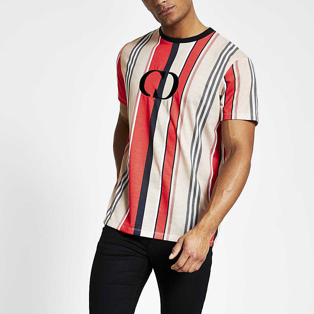 Criminal Damage – T-shirt rouge avec logo sur la poitrine
