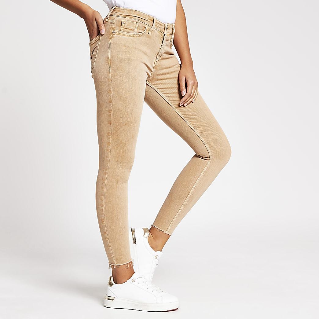 Dark beige Amelie mid rise skinny jean