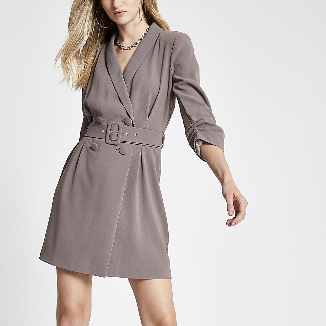 Donkerbeige nette jurk met ceintuur