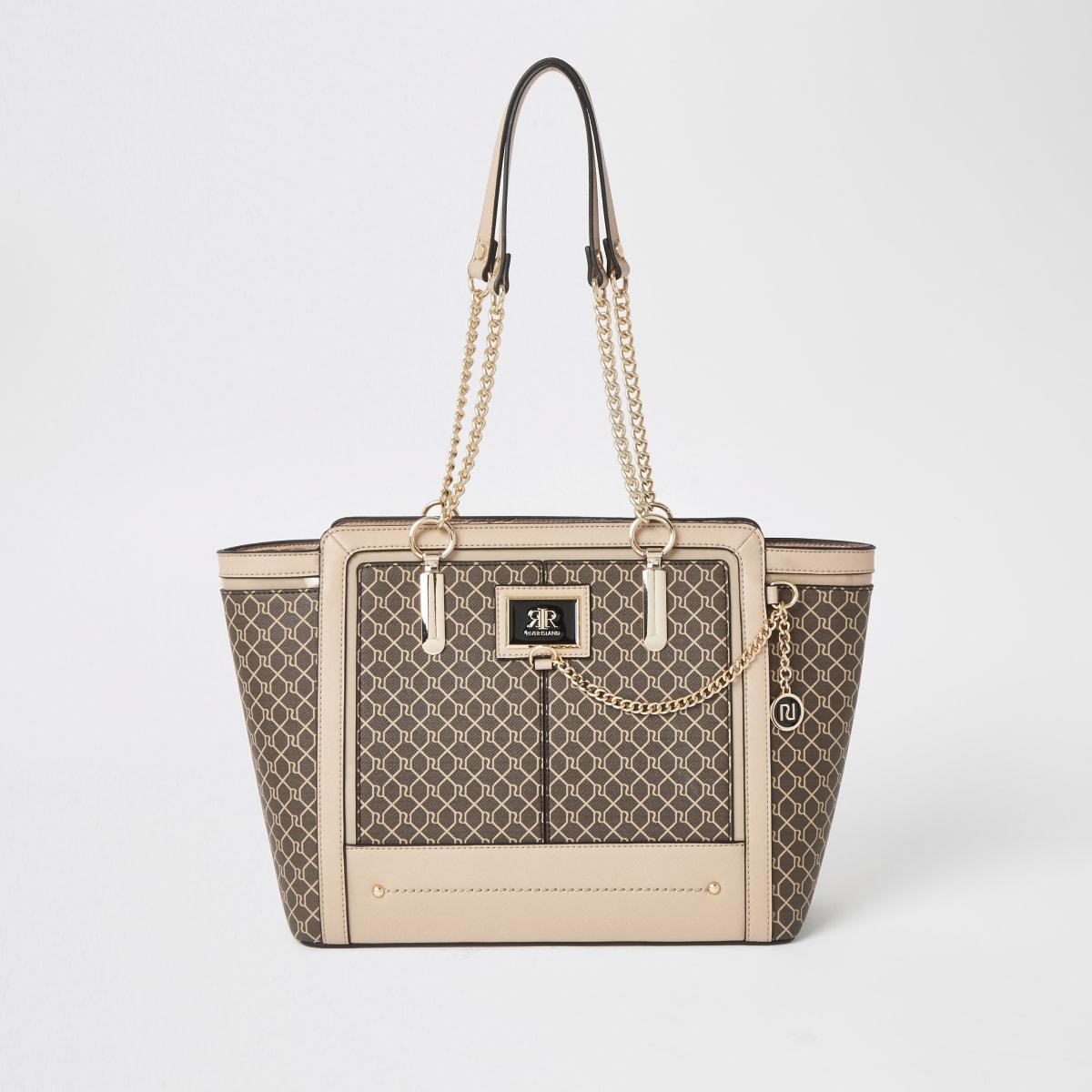 Dark beige RI monogram winged tote bag