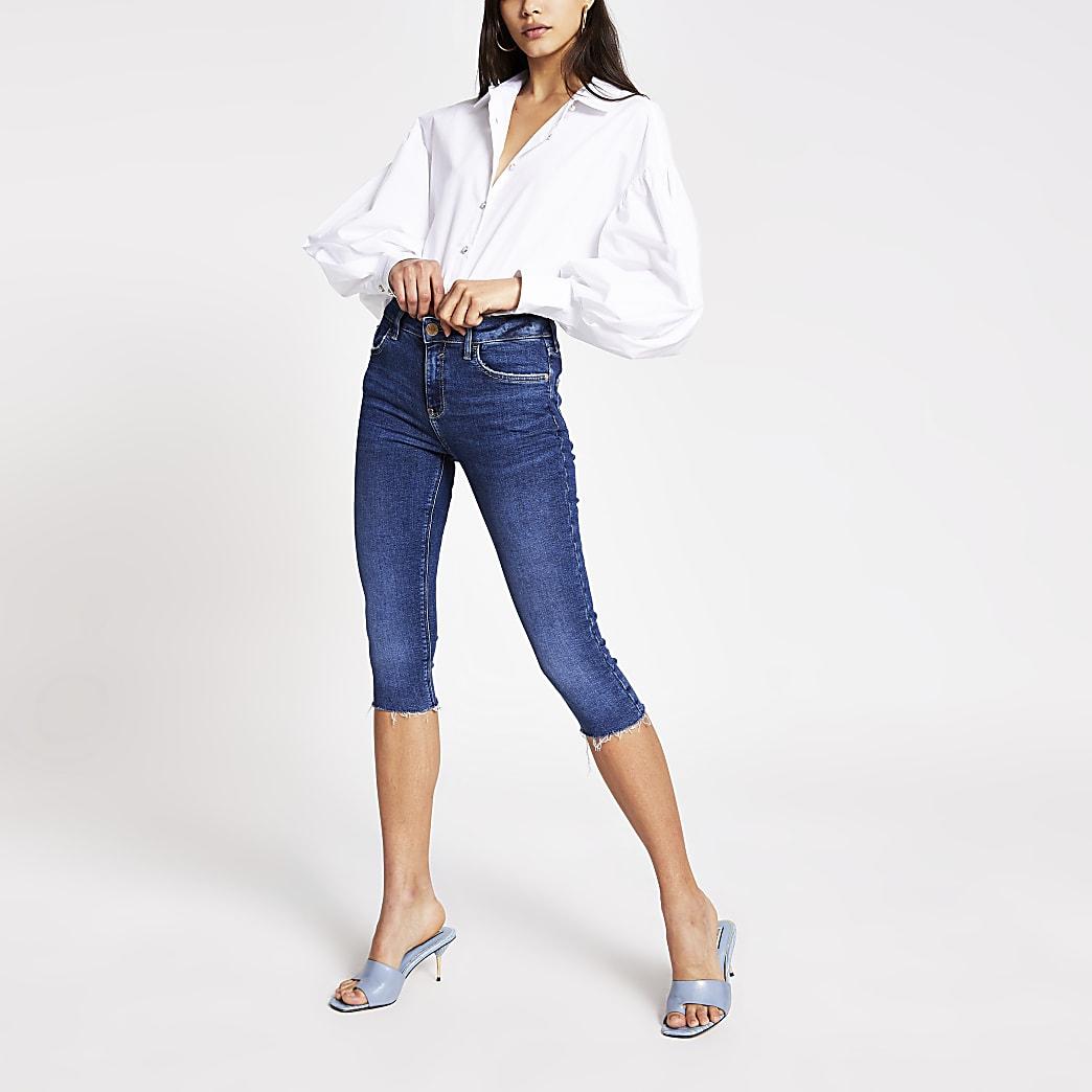 Dark blue Amelie mid rise skinny crop jeans