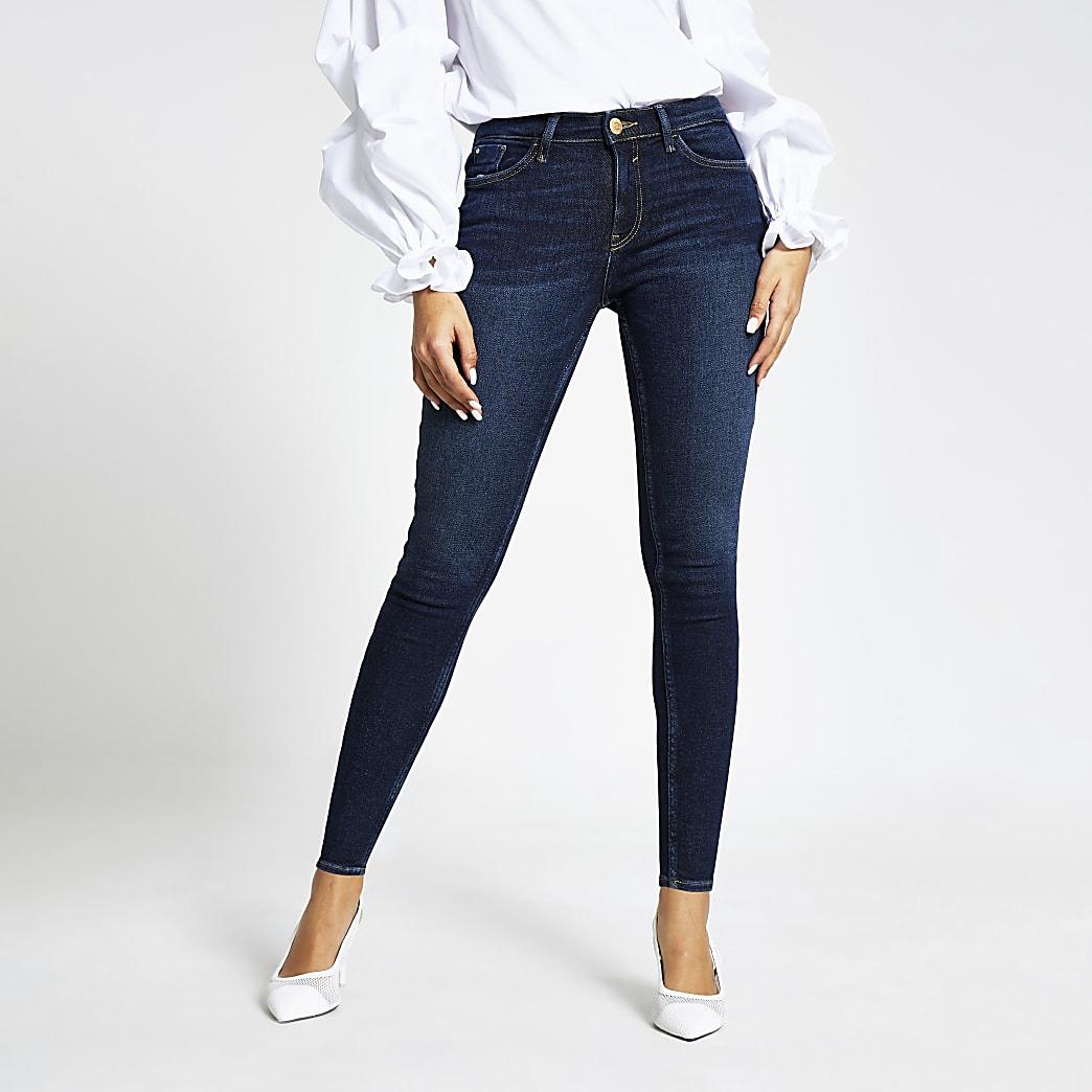 Amelie – Jean skinnytaille mi-haute bleu foncé