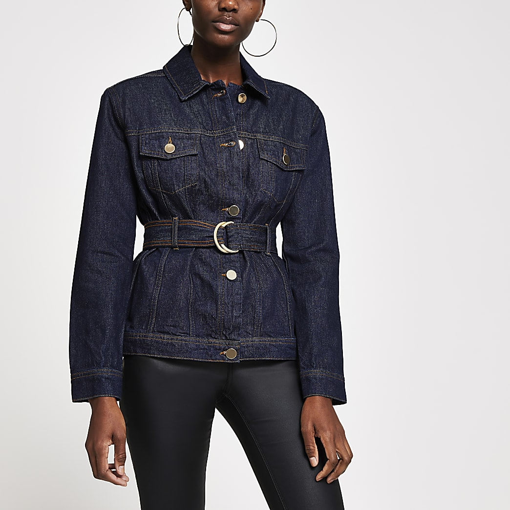 Dark blue belted denim jacket