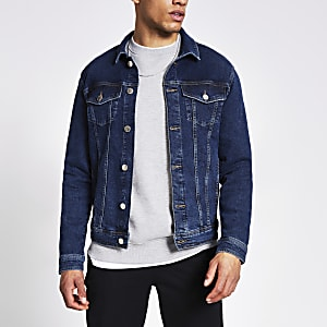 Donkerblauw classic fit denim jack