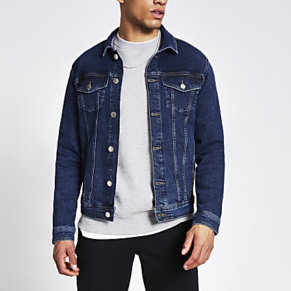 Dark blue classic fit denim jacket