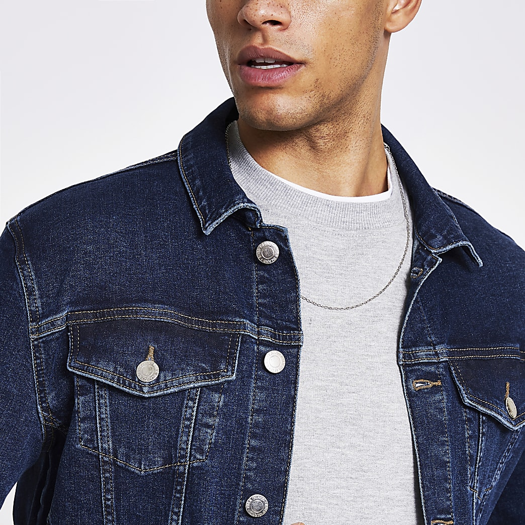 River Island Dark blue classic fit denim jacket