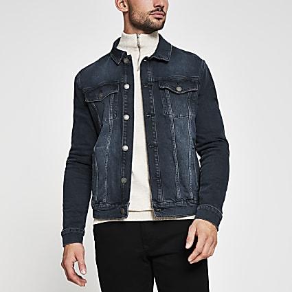 Dark blue denim western jacket