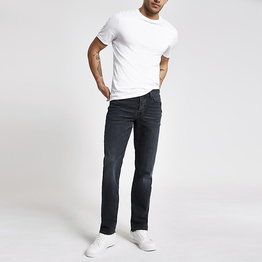 Dark blue distressed Dean straight leg jeans