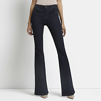 Dark blue flare mid rise jeans